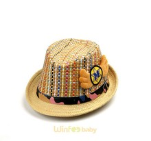 kids children baby leather belt newest designer hats and caps fedora straw boater hat