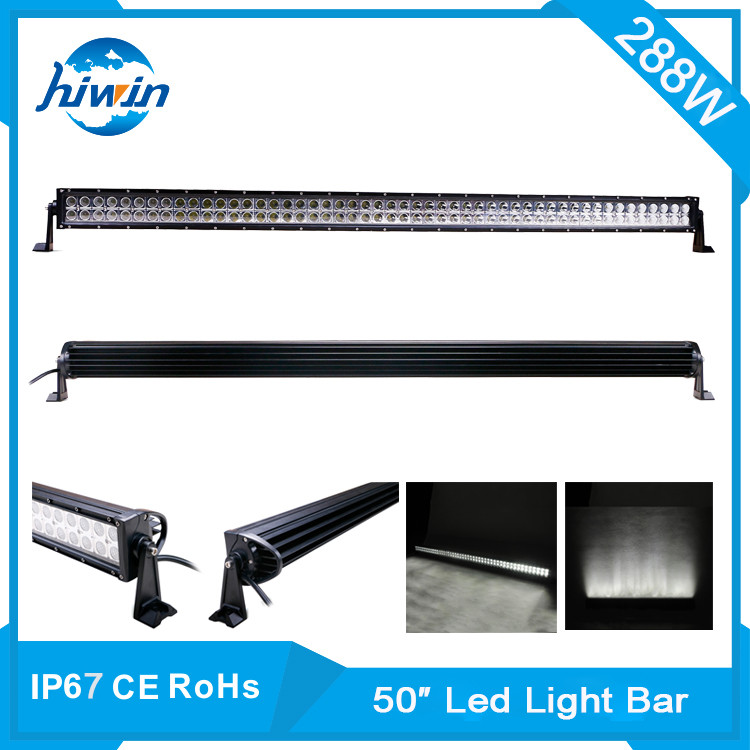 Hiwin 288W 50inch IP67 Waterproof dual row led light bar for trucks