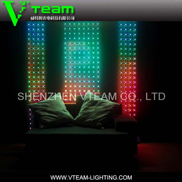 2014 Full Color soft led mesh flash display/stage background & club decoration led wall