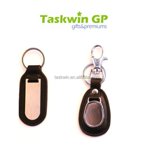 Business promotion use fob keyring, Cheap black genuine leather keychain