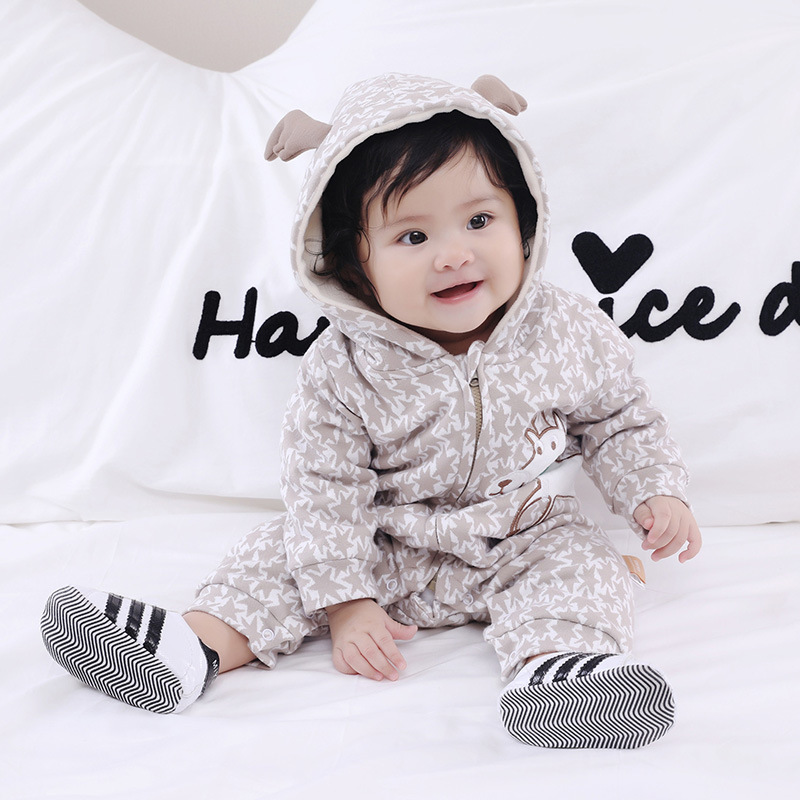 B22446A New on sale baby clothes lovely infant Cartoon casual Fleece lined rompers