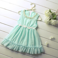 Hot Sale 2016 Girl Dresses With Pearls Lace Girls Dress Kids Sleeveless Costume Children Wear GD50325-6