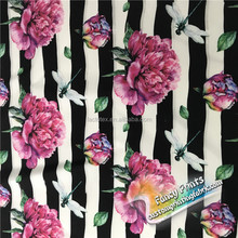 florals in stripes design digital custom super poly brushed fabric