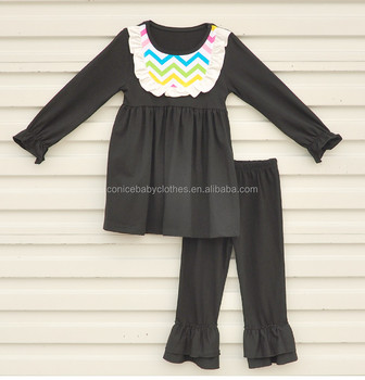 hot sale girl fall clothes sets children's black outfits kids clothing wholesale