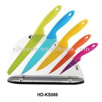 6pcs plastic handle with arylic block colorful nonstick knife set / kitchen knife set