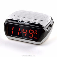All-in-one LED wireless bluetooth speaker built-in 1800mah battery led alarm smart time clock with radio