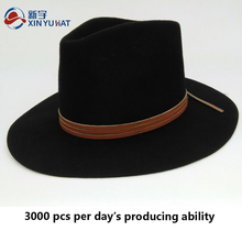 classical black wool felt fedora hat for men with leather belt