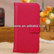 FL2543 2013 Guangzhou hot selling stand lychee pattern wallet leather case with credit card slot for iphone 5c