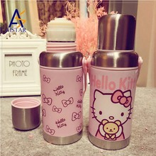 Lovely thermos cup KT bounce cover children's creative cartoon cup customized infuser flat plastic joyshaker water bottle