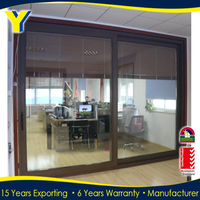Double glazed insulated aluminium glass sliding doors/exterior glass door