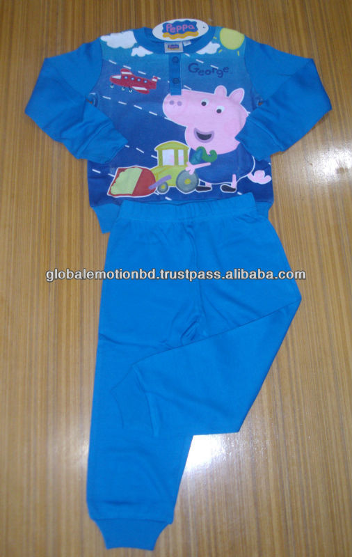 kids interlock jersey winter pajama set, Cute pepa clothing set 100%cotton