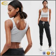 Ecoach latest Fitness wear women grey round neck crop length gym bra loose fit jersey fabric crop top with rib for sports 2016
