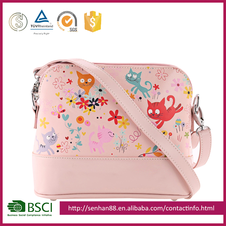 Factory Price Color cartoon cat pattern pink shoulder bag