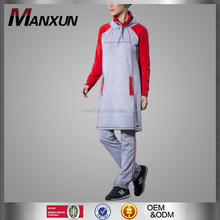 Soft High Quality Muslim Sports Wear For Women Islamic Red Grey Stitching Color Casual Clothing