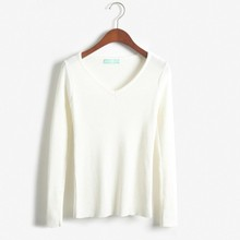 ZH0422A Simple Handmade Latest Design V-neck Slim Fit Ladies Sweater