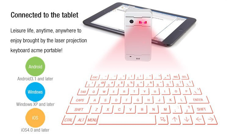 Top sale Bluetooth lazer keyboard for smart phones, Tablets
