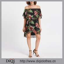 New Stylish Beautiful Ladies Dresses OEM Wholesale Black Flower Print Ruffle Off The Shoulder Short Chiffon Dress