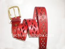 stylish leather belt with buckle
