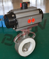 double acting fluorine pneumatic flanged butterfly valve