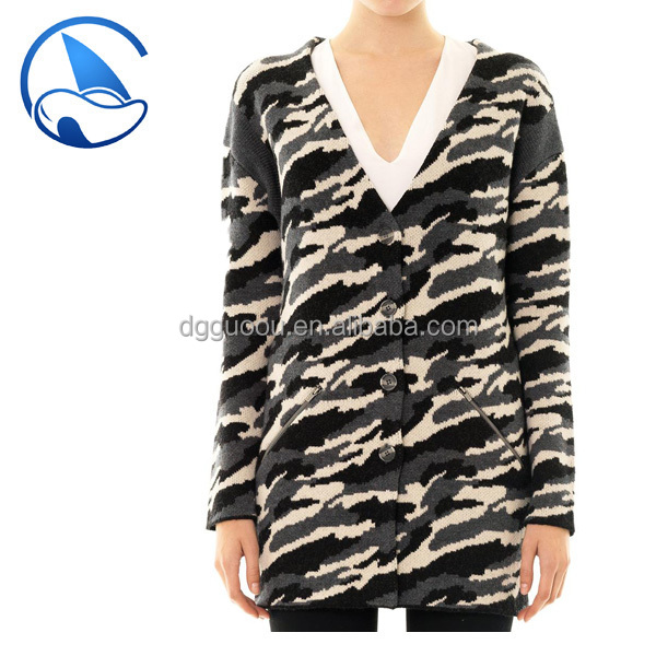 2015AW Women's angora cardigan with leopard jacquard fashion sweater