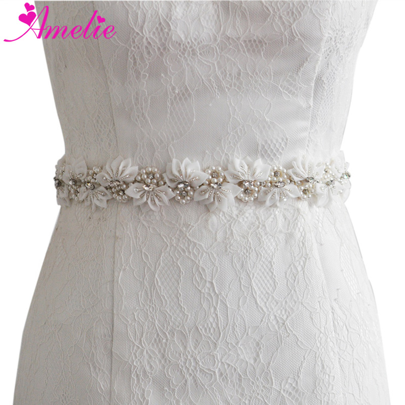 Handmade Wedding Dress Sash Belt Crystal Pearl Bridal Sash Applique Women Evening Dress Flower Embellished Bridal Belts