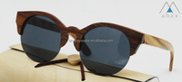 Vintage half rimless natural Ebony Wood sunglasses with TAC polarized lenses Model AMB6013