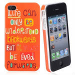 Stylish Famous Quote Patterned Candy Color Plastic Protective Back Case for iPhone 4/4S