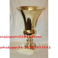 gold plated metal vase for flower arrangement