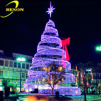 Led Spiral Outdoor Lighted Christmas Cone Trees With Top Star