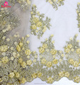 2017 factory hot selling beaded 3D lace fabric embroidery for wedding dress party dress low MOQ