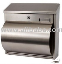 Stainless Steel Crystal Designer Mailbox with Art Deco Semi-Circle Newspaper Holder