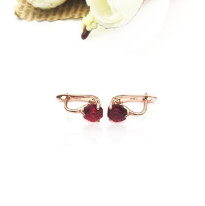 E300609S Created Elegant Wedding Engagement 925 Gold Silver Ruby Earrings For Women