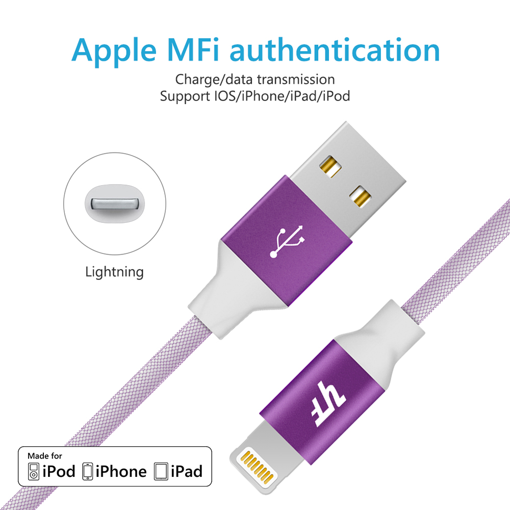 MFi certified manufacturer best selling mesh braided mfi charging cable for iphone
