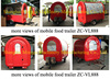 Kitchen van cart food trailer fridge, commercial bbq grills trailer for sale
