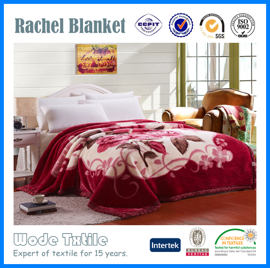 High quality Manufactory walmart rose printed fabric textile alibaba china organic polyester rachel blanket