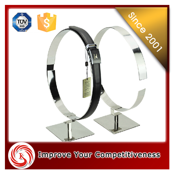 Men garment shop interior design leather belt display stand design