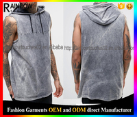 Oversized men gray Sleeveless T-Shirt With Acid Wash And Hood