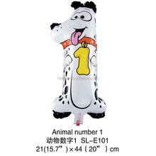 Popular child custom helium balloons animal number 1 gift toy dog shaped helium balloon