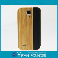 Flip Leather Wood Case Cover For Samsung Galaxy S4