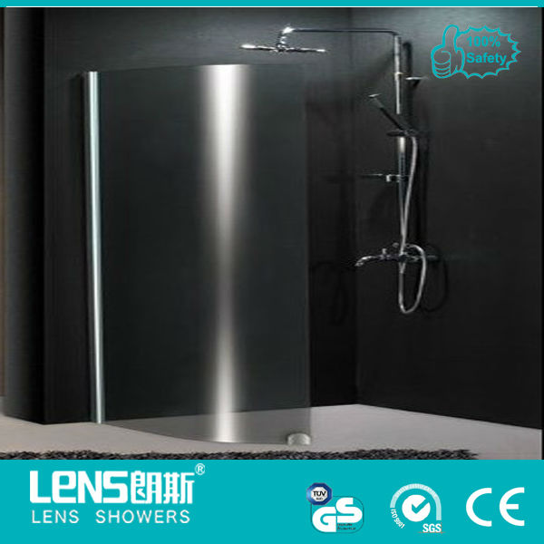 frameles easy access walk-in shower door &curved glass shower screen Lens-wing P10