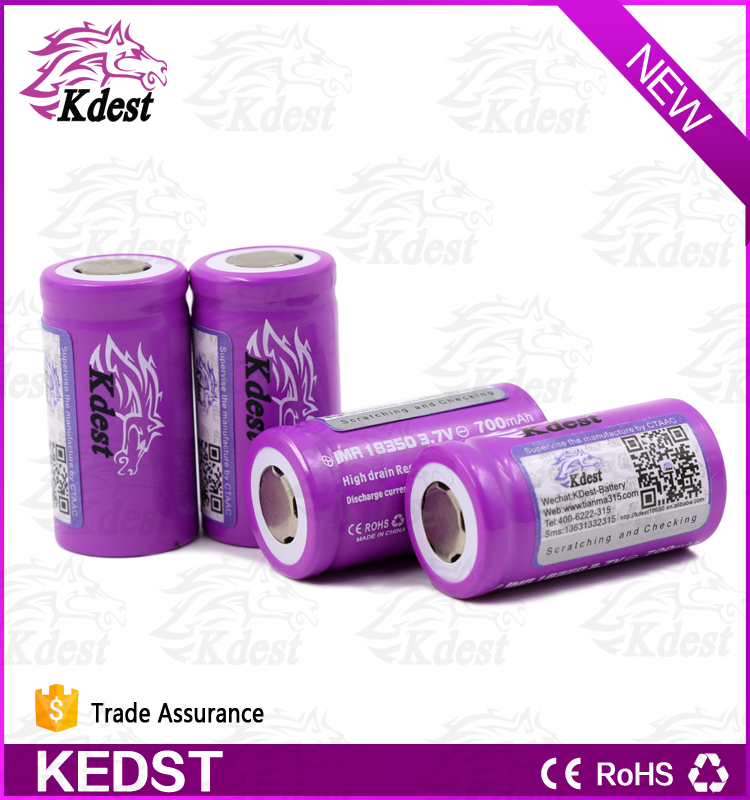 KDEST IMR 18350 700mah 3.7v high power 1.2v ni cd rechargeable battery