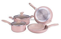 7PCS aluminum forged/pressed marble cookware set/sauce pot/milk pot/frypan