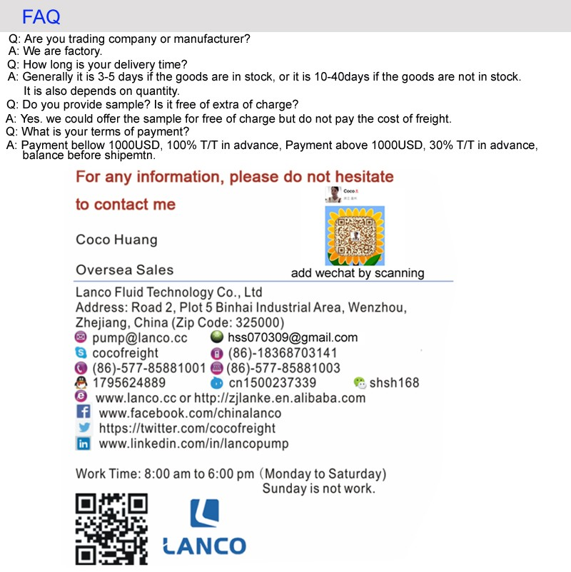 Lanco Brand ISO Certificate IS Series Centrifugal Theory Acid Pump For Chemical Circulator