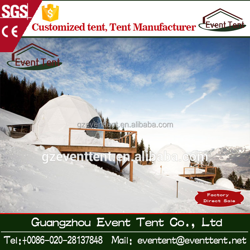 Strong PVC aluminum frame dome tent, winter round dome tent, severe cold weather geodesic dome tent with wooden floor