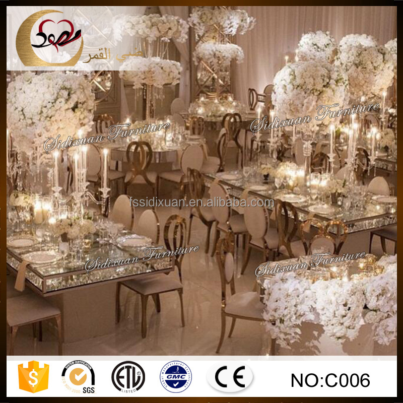 contemporary stainless steel frame dining table for wedding