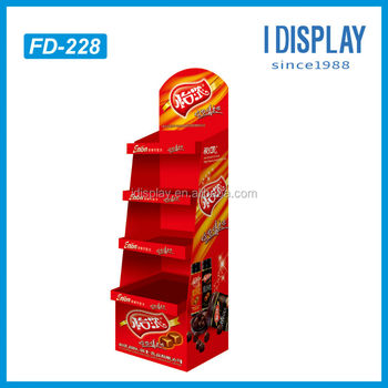 floor standing retail store cardboard wine display stand with LCD screen