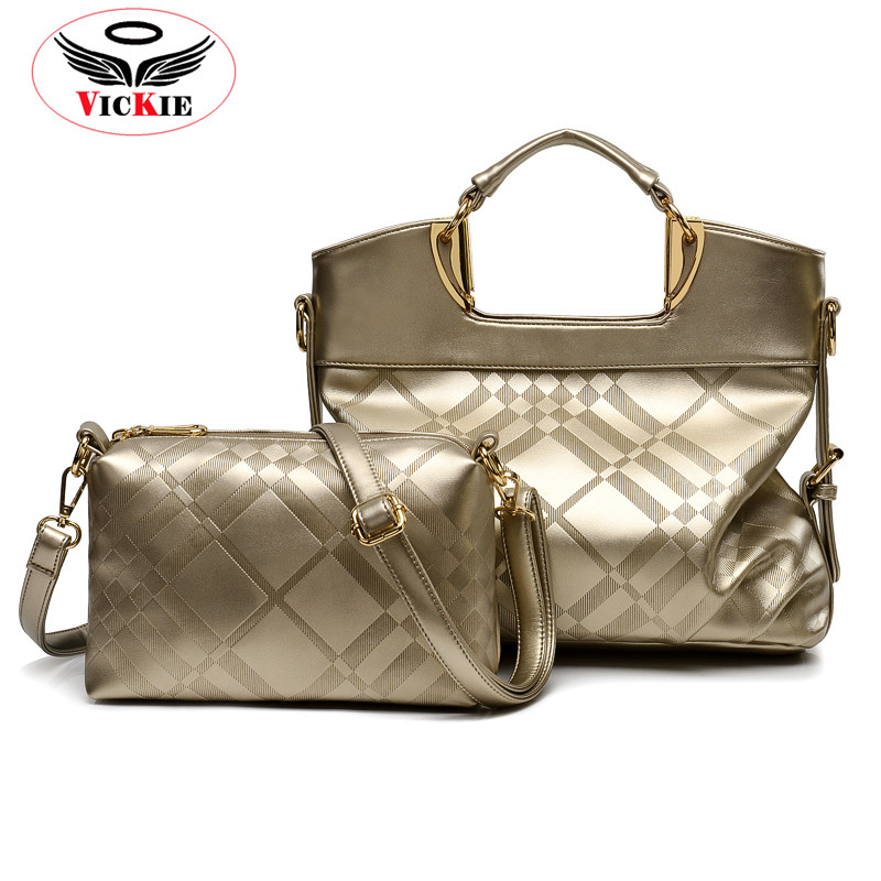 2015 New Women Composite Bag Casual Tote For Lady Women Handbags Gold Plaid Woman Messenger Shoulder Bag Noble Brand Totes HT13