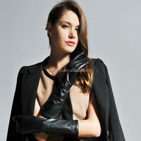 fake silk lining womens mid-length long leather gloves, sheep skin