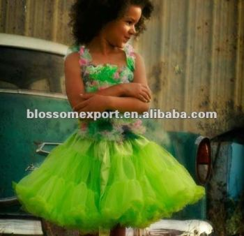 Lime green baby fluffly baby skirt