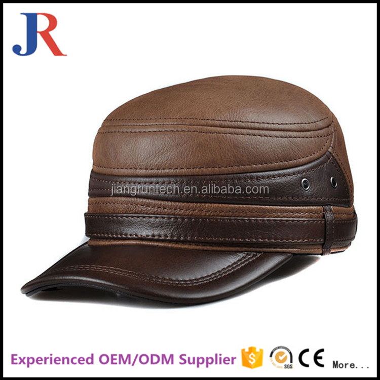 2017 factory supplier high quality leather plain military officer cap